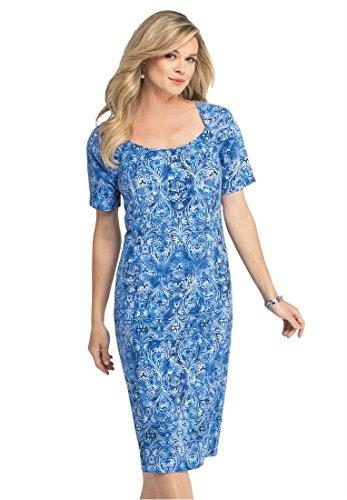 Bargain Catalog Outlet Roamans Plus Size Sheath Dress (Bright Cobalt Print,16 - Womens Outlet