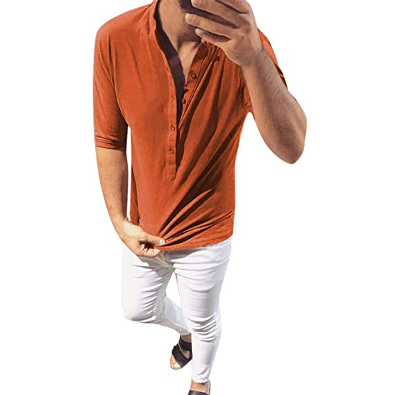 ♚Blusa de Media Manga de Hombre,Moda Otoño Invierno Botón Slim Tops Casual Camisas