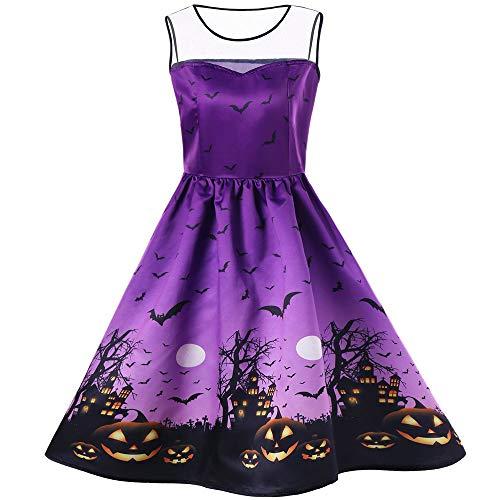 Hurrybuy Women Vintage Hebburn Sexy Slim Halloween Print Sleeveless Party Dress