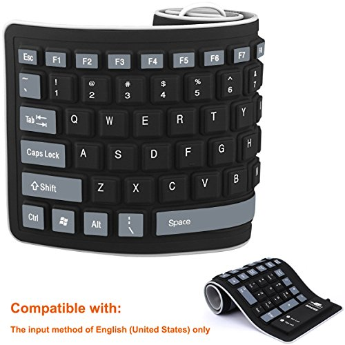 BONUSIS Foldable Silicone Keyboard USB Wired Silicon Flexible Soft Waterproof Roll Up Silica Gel Computer Desktop (103 Keys) Keyboard for PC Laptop Notebook for PC Notebook Laptop [Black]