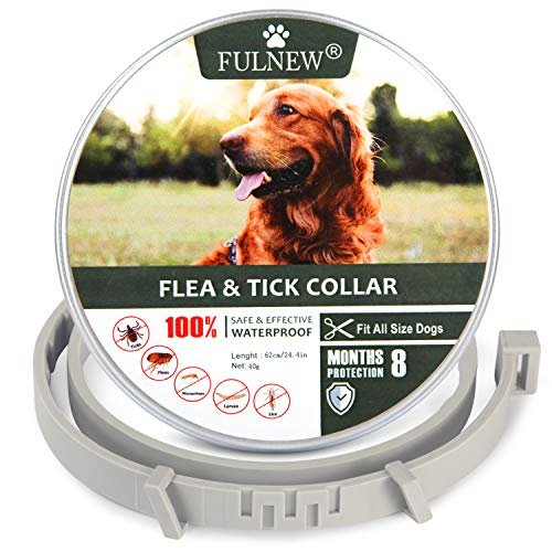 FULNEW Flea & Tick Prevention Collar for Dogs Flea and Tick Control 8 Months Protection Hypoallergenic Adjustable Waterproof Dog Collar Natural Essential Oil