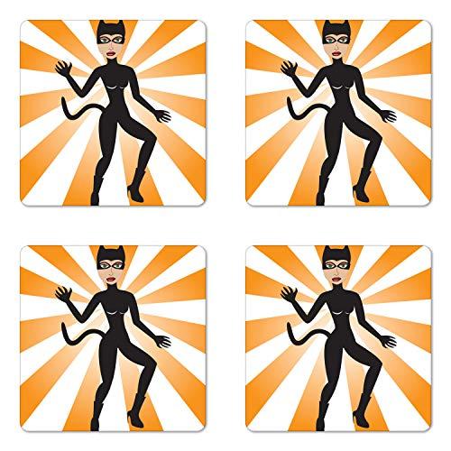 Ambesonne Retro Coaster Set of Four, Cat Woman Halloween Costume on Starburst Background, Square Hardboard Gloss Coasters for Drinks, Pale Orange Ecru Laurel Green Charcoal Grey -