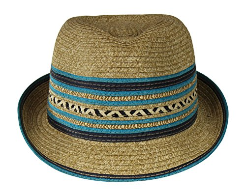 Turquoise/Natural Straw Fedora Hat w/ Chevron & Stripe Accent -Inner Drawstring