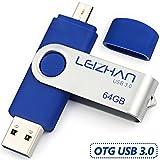 LEIZHAN Flash Drive 3.0 64GB OTG Metal Pen Drive Dual Plug Memory Stick Rotate Design Micro USB Tablet U Disk Computer Smart Phone Blue