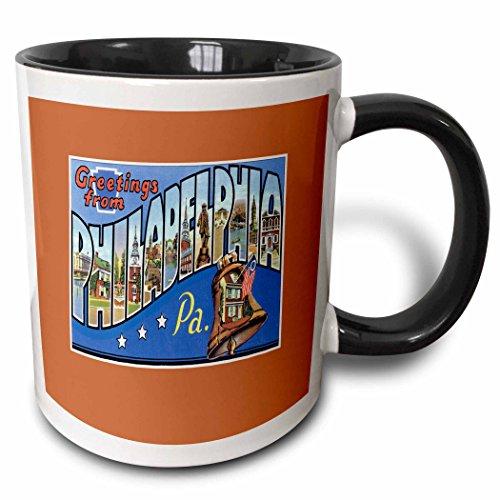 Liberty State Tee - 3dRose BLN Vintage US Cities and States Postcards - Greetings From Philadelphia Pennsylvania with Liberty Bell - 11oz Two-Tone Black Mug (mug_170560_4)