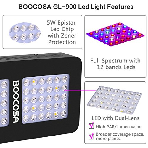 BOOCOSA LED Grow Light 900W Indoor Plant Light Full Spectrum with UV for Greenhouse Veg and Flower by BOOCOSA (Image #3)