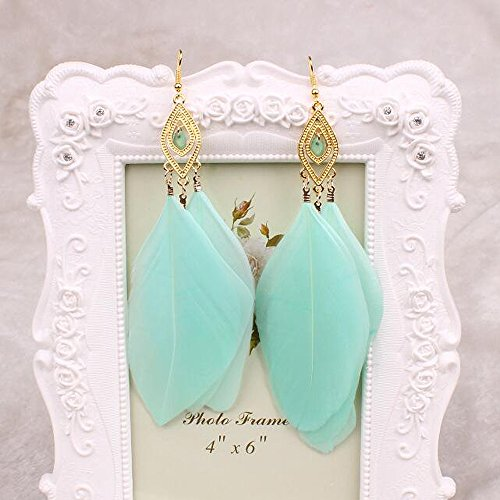 A&C Fashion Bohemia Green Feather Dangle Earrings Jewelry for Women, Hot Sell Indian Feather Eardrop for Girls.