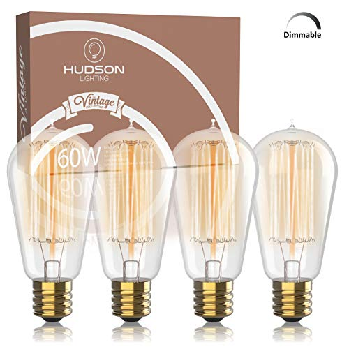 Vintage Incandescent Edison Bulb Set: 60 Watt, 2100K Warm White Edison Light Bulbs - E26 Base - 230 Lumens - Clear Glass - Dimmable Antique Exposed Filament - ST58 Decorative ()