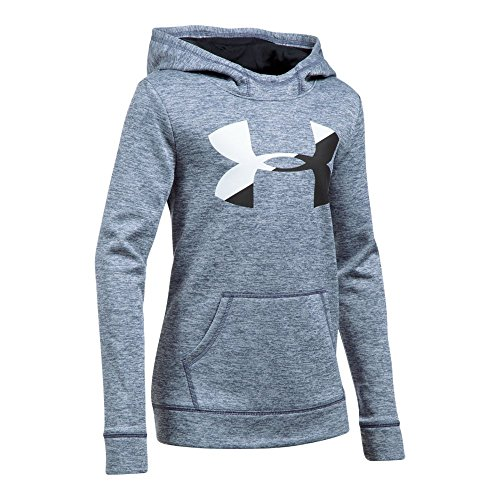 Under Armour Girls' Armour Fleece Big Logo Novelty Hoodie,Apollo Gray /Black, Youth X-Large