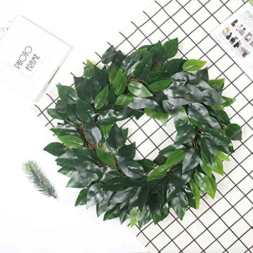 Maikouhai Artificial Green Plant Wreath, Simulation Green Plant Garland Home Office Decor Wedding Graduation Engagement Festival Celebrations - Plastic, 17.7x17.7 -