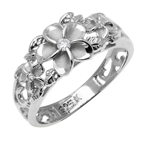 Honolulu Jewelry Company Sterling Silver Flower Ring with Clear CZ and Satin Finish(8)