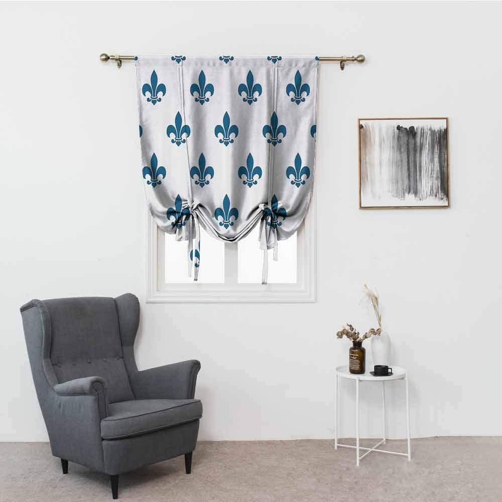 Luckyee Living Room Decorated with Roman Curtains,Fleur De Lis Decor Collection,an Illustration with Fleur De Lis in Colorful Rainbow Color Cheering Retro Art,Yellow Red Blue