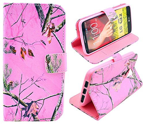 LG G2 Case, Tree Camo Flip Wallet Credit ID Card Slot Holder Phone Case With Stand --Retail Package W Screen Protector --Pink