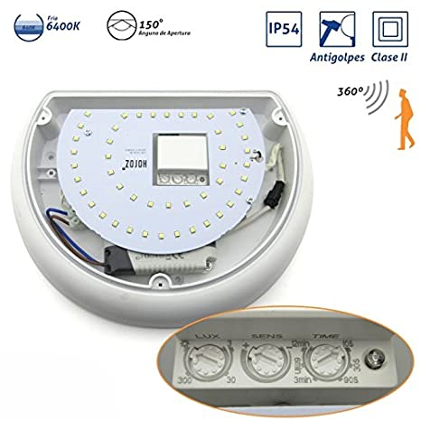 Plafón Media Luna IP54 antivandálico LED 6400K con sensor Blanco: Amazon.es: Bricolaje y herramientas