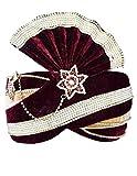 INMONARCH Mens Velvet and Art Silk Turban Pagari Safa Groom Hats TU1067 23-Inch Maroon-Beige
