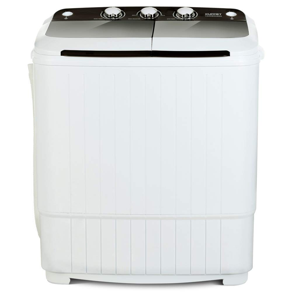 17Lbs Portable Washing Machine, Compact Twin Tub Wash and Spin Combo for Dorms, Apartment, RVs, Camping