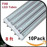 10-pack 8ft LED Tube Light bulb, T8/T10/T12, FA8 Single Pin, 36W (75W equivalent), 6000K (cool white), Dual-Ended Power, UL listed, Clear Cover, ($12.8 each)
