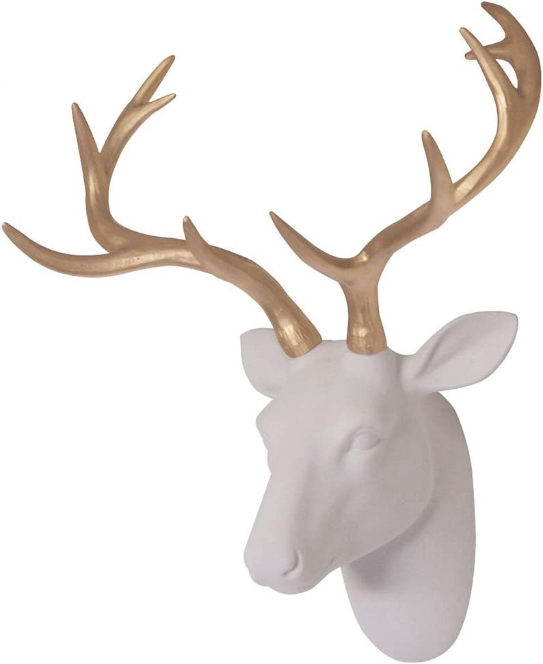 """Smarten Arts Faux Deer Head Wall Decor, White Fake Furry/Felt/Velvety Resin Deer Head with Gold Antlers for Home/Bar/Office, Size 16"""" x 12.5"""" x 7.5"""""""