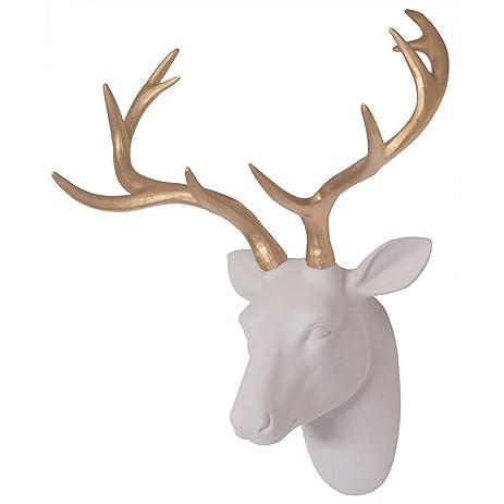 Deer Head Decor Wall Art Animal Head Art White Flocking Resin Deer Head  With Gold Antlers