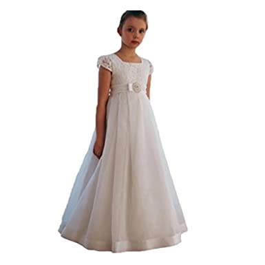 fd7624fe4da Kalos Dress Shop 2018 White Organza Girl Dresses for Wedding Short Lace Cap  Sleeve First Communion