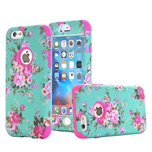 iPhone 6 Plus Case, iPhone 6S Plus Case, Ranyi [2 Piece Floral Flower] [360 Full Body Protection] [Shock Absorbing] Hybrid Rugged Protective Case for Apple iPhone 6/6s Plus (5.5 inch), hot pink