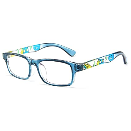 e93cefea904 Amazon.com  Fantia Unisex Child Non-Prescription Glasses Frame Clear Lens Kids  Eyeglasses (2 -Blue)  Health   Personal Care