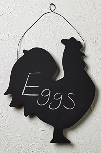 (The Market Street Wood Rooster Chalkboard with Wire Hanger)