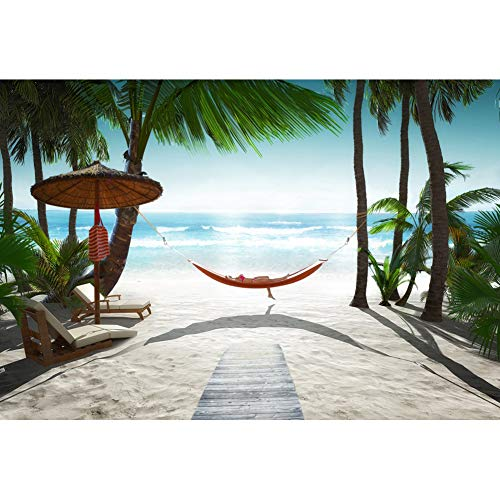 Canessioa 4x2.6ft Tropical Coastal Sand Beach Photography Backdrop Background Coconut Palm Sand and Hammock Bright Sunshine Summer Holiday Vacation Resort Photo Booth Shoot Vinyl Studio Props