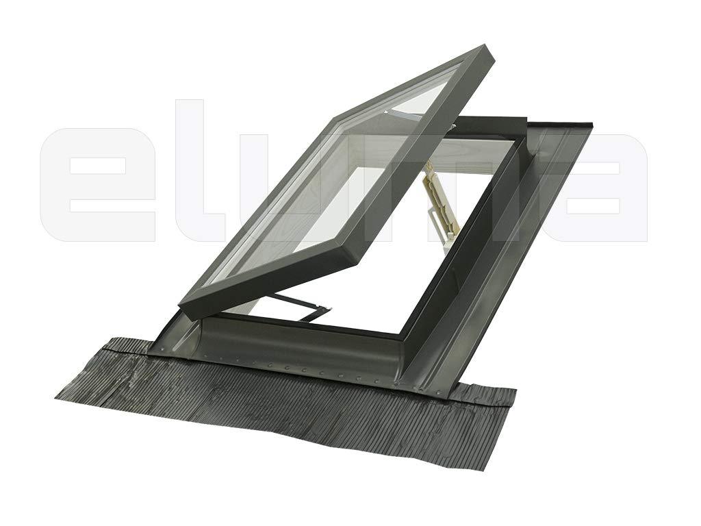 Ausstiegsfenster 45x55 Breite x H/öhe Eindeckrahmen//Oberlicht//Aufklappbar mit T/ürfunktion//Zugang zum Dach//Doppelglas modell CLASSIC LIBRO//Dachfenster