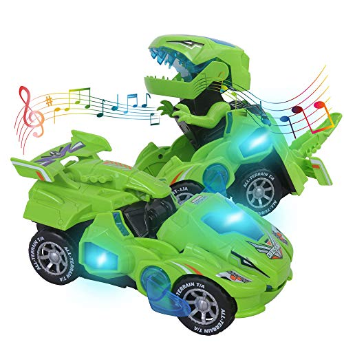 Transformers Toys for 3-6 Year Old Boys Dinosaur Toys with LED Light and Music