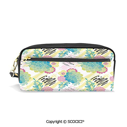 (PU Leather Student Pencil Bag Multi Function Pen Pouch Floral Corsage Pattern with Brushstrokes Colorful Flourish Foliage Summer Field Decorative Office Organizer Case Cosmetic Makeup)