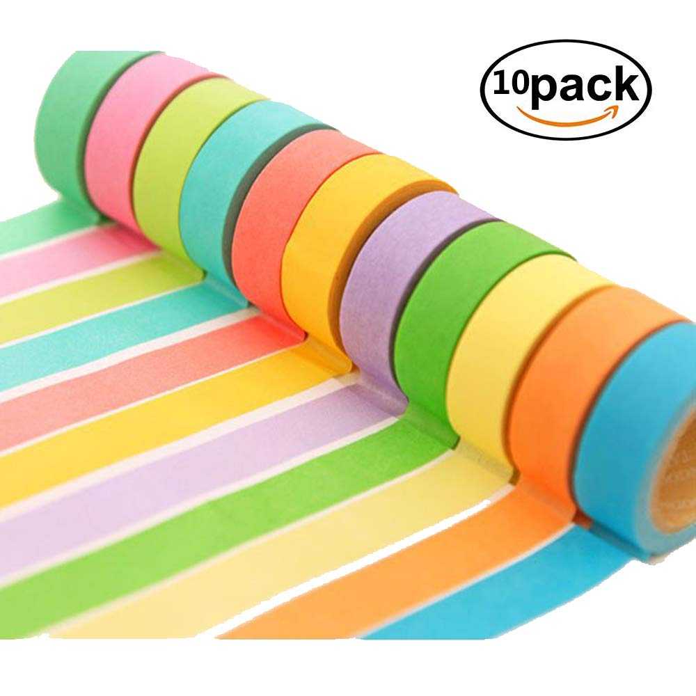 Lyanther Nastro Adesivo Decorativo Washi Rainbow Sticky Paper Scrapbooking DIY -10 Rotoli