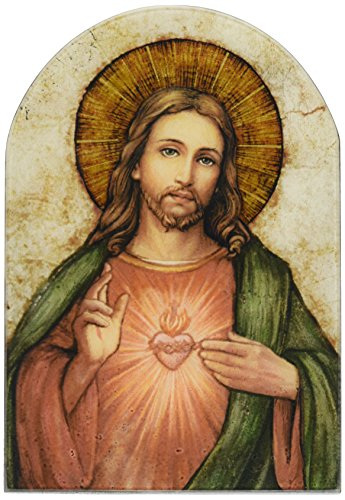 (Sacred Heart of Jesus Christ Icon 7 Inch Wood Arched Plaque)