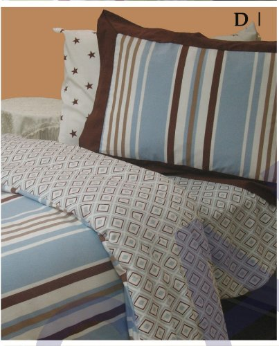 Serena and Lily Teddy Beach Stripe 4 Pc Reversable Duvet Set