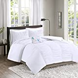 Comfort Spaces – Montana Comforter Set - 3 Piece – White – Ruched Pattern – Twin/Twin XL size, includes 1 Comforter, 1 Sham, 1 Decorative Pillow