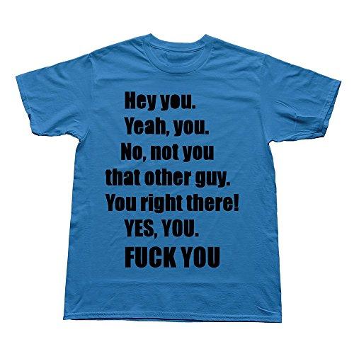 AWSY Men's Hey Fuck T Shirt Large RoyalBlue