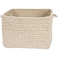 Colonial Mills Chunky Natural Wool Basket, Light Gray, 12x12x8