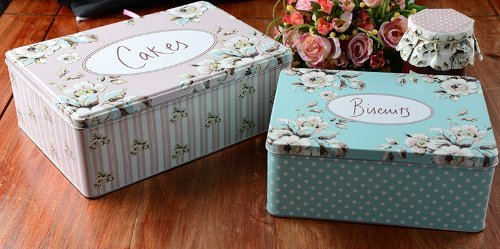 """Katie Alice """"cottage Flower"""" 2 Piece Metal Cake And Biscuit Rectangular Tins By"""