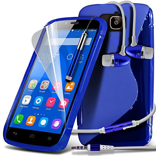 ONX3® ( Blue ) Huawei Honor Holly Case Custom Made S Line Wave Gel Case Skin Cover With LCD Screen Protector Guard, Polishing Cloth & Mini Retractable Stylus Pen
