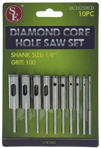 (10pc 100 Grit Diamond Core Hole Saw Set 3/32-7/16 Drill Bit 4 Dremel Rotary)