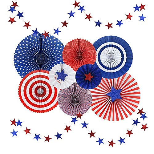 USA Flag Style Paper Fans Patriotic Party Decor - Red/Navy Blue/White/Orange - Vivid and Shiny - Hanging Fans & Star Streamers for Birthday, Fiesta, Carnival Celebration