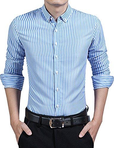 Woven Shirt Vertical Stripe (DOKKIA Men's Formal Business Vertical Striped Button Down Long Sleeve Dress Shirts (Medium, Light Blue White))