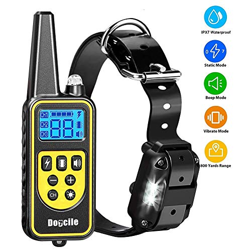 YISENCE Dog Training Collar, Dog Shock Collar with Remote 2500FT Shock Collar for Dogs IPX7 Waterproof Rechargeable w…
