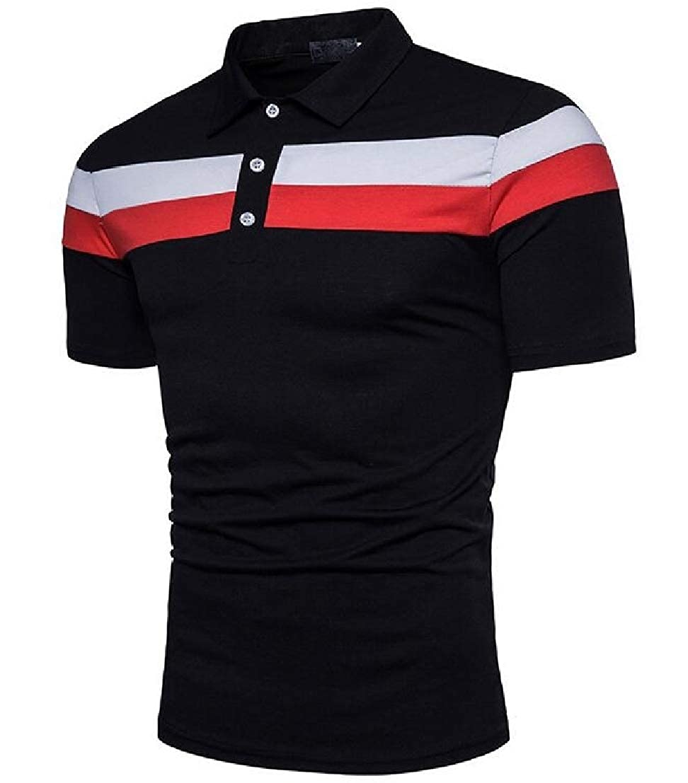 UUYUK Men Short Sleeve Horizontal Stripes Splicing Stylish Contrast Polo Shirt