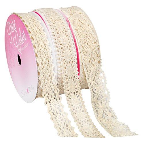 Morex Ribbon Lace Up Mixed Widths Polyester Ribbon, 11 yd, Off - Ribbon Morex Lace