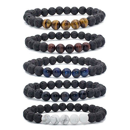 Bivei Natural Lava Rock Stone Essential Oil Diffuser Bracelet Healing Energy Gemstone Buddhist Mala Jewelry W/5 Tiger Eye Stone/Howlite(Pack of 5) Lava Rock Stone