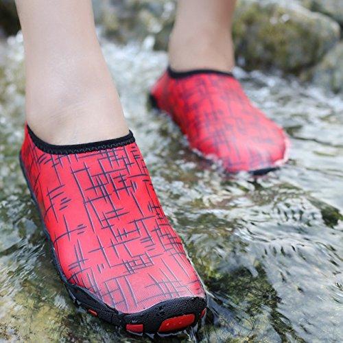 WAZZIT Männer und Frauen ¡¯ s Barfuß Quick-Dry Wasser Sportschuhe Turnschuhe Schwimmen Walking Yoga Beach rot