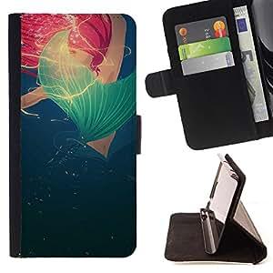 Jordan Colourful Shop -Million Fish Sea Mermaid -- Leather Case Absorci¨®n cubierta de la caja de alto impacto FOR Apple iPhone 4 4S 4G ---