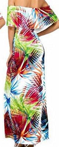 Dal Print Maxi Donne Vestito Jaycargogo Spiaggia Spalla Fuori Floreale 7 Della Party Lungo Increspature Elegante qtHH4wyxRf