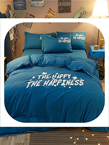Memoirs- 4Pcs Bedclothes Set Modern Simple Letters Pattern Luxuriant Comfy Bedding Set,Blue,2.2m,Flat Bed Sheet]()